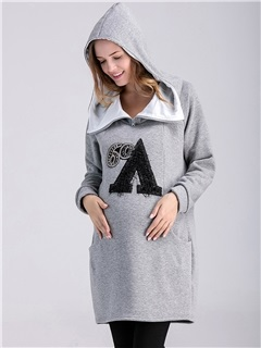 Solid Color Zipper Printing Maternity Hoodie