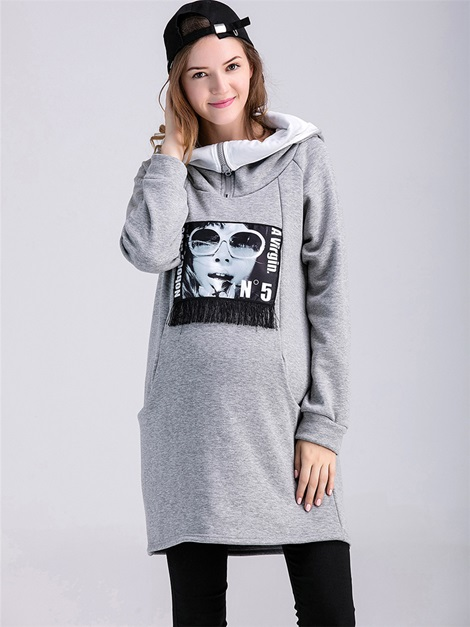 Printing Pocket Decorated Maternity Hoodie