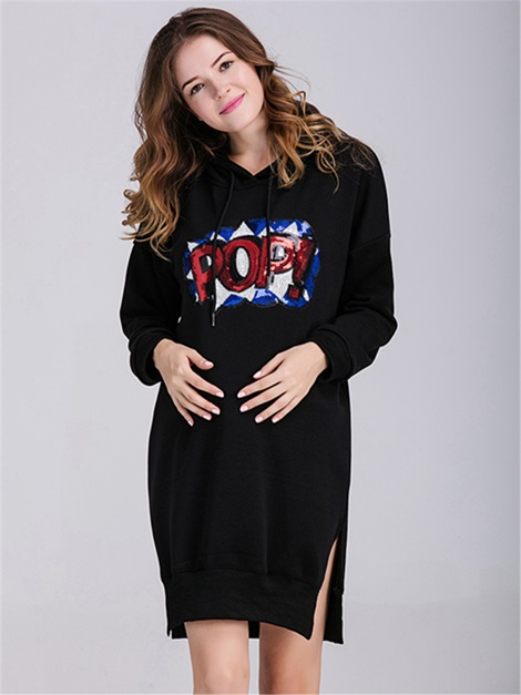 Chic Sequins Lettered Maternity Hoodie