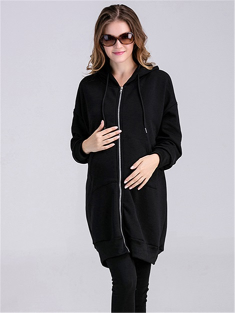 Casual Full-Zip Thickening Maternity Hoodie