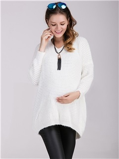 Elegant V-Neck Comfort Maternity Sweater  2