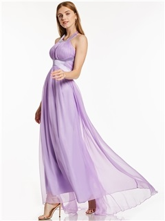Halter Neck A-Line Draped Chiffon Evening Dress 1
