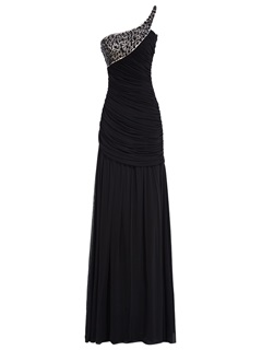 Pleats Ruched Beading One-Shoulder Floor-Length Evening Dress