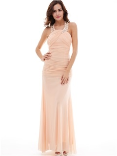 Simple Halter Neckline Pleated Chiffon Sheath/Column Evening Dress