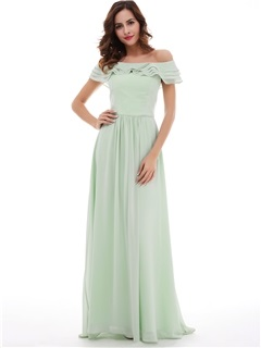 Delicate Off-The-Shoulder Chiffon A-Line Long Prom Dress