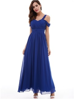 Fancy A-Line Straps Pleated Chiffon Evening Dress 1