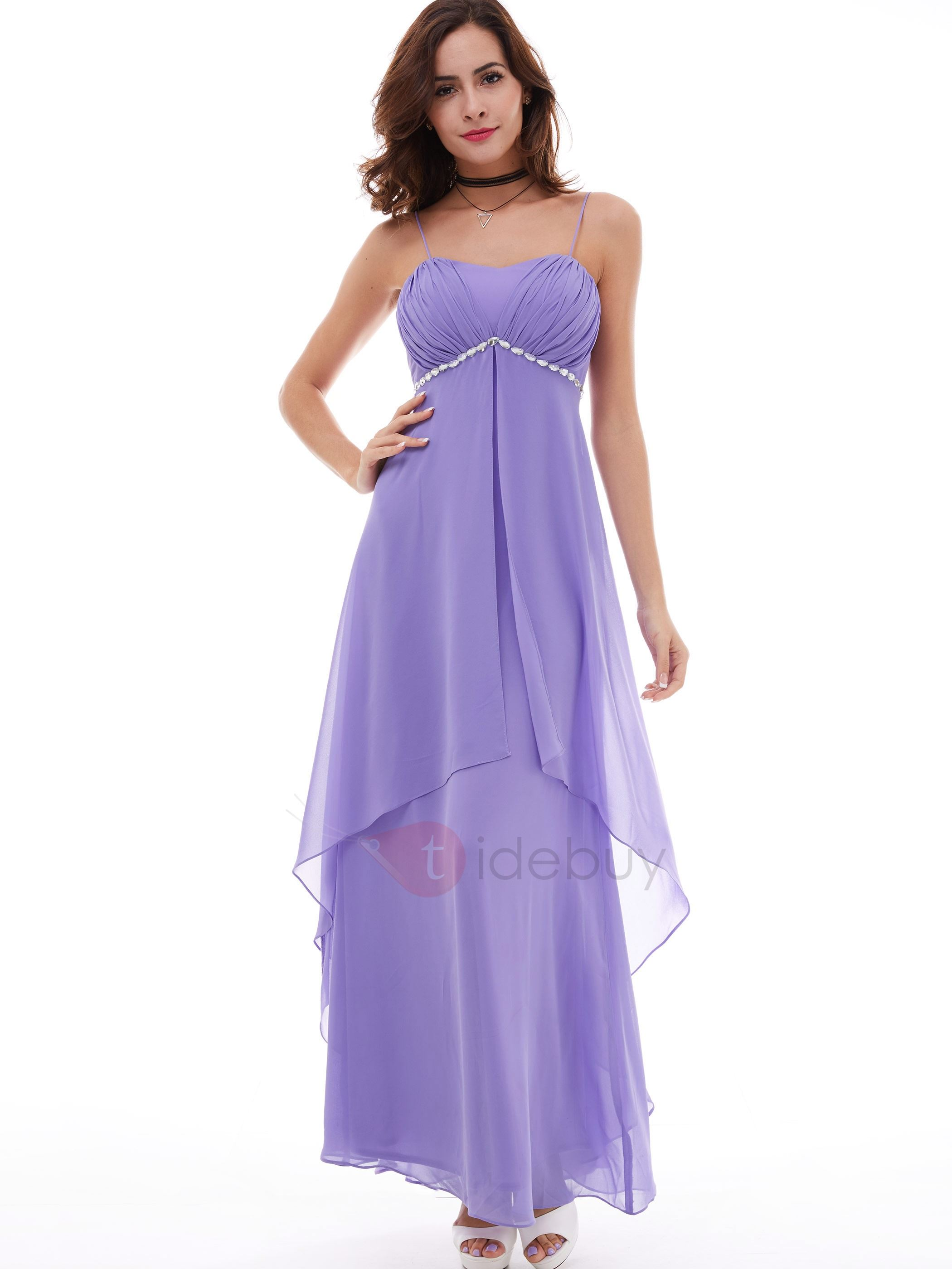 Charming Spaghetti Straps Empire Waist Beaded Evening Dress