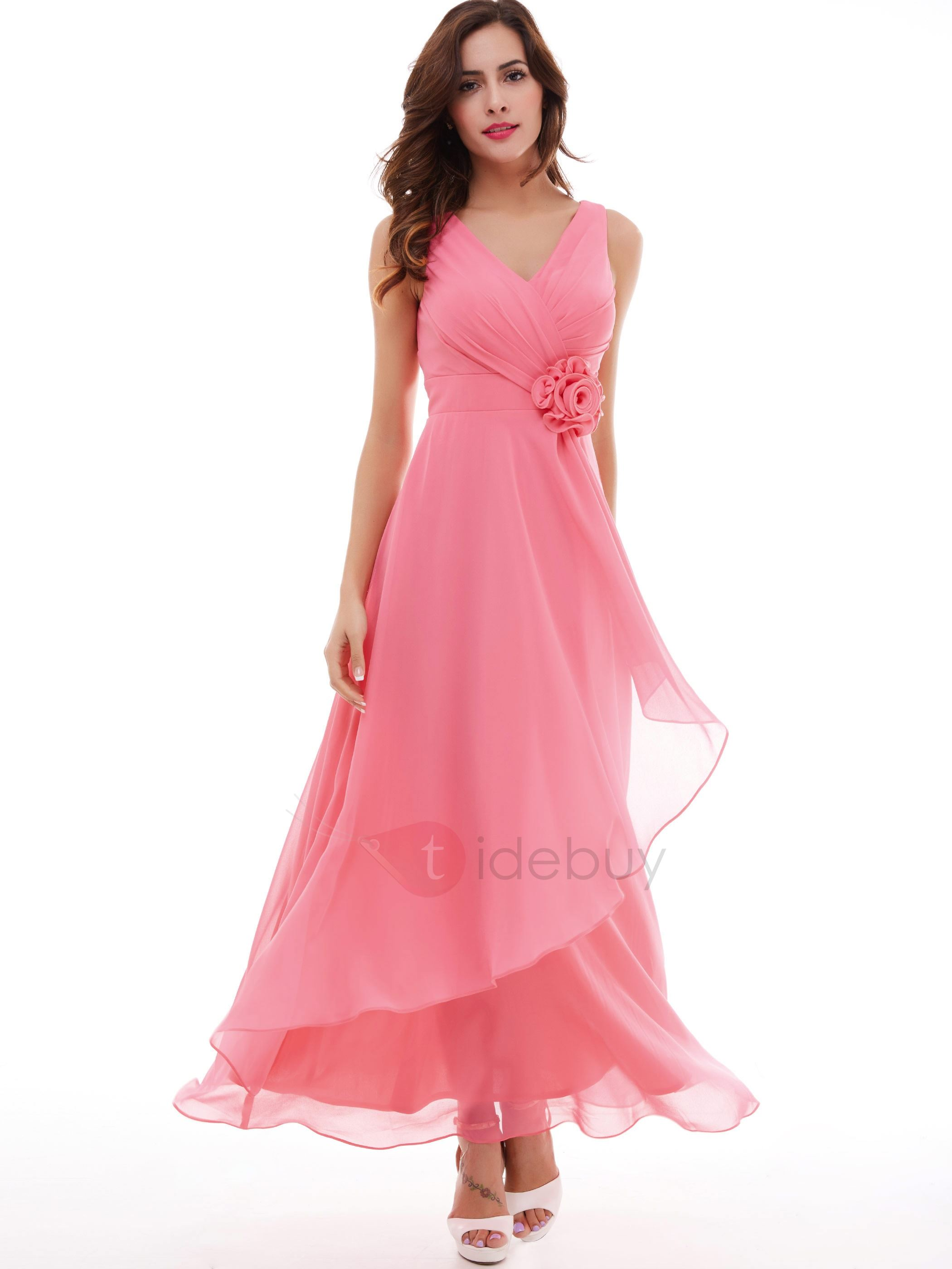 Image of Lovely V-Neck A-Line Pleated Chiffon Flower Long Evening Dress