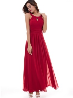 A-Line Chiffon Scoop Sleeveless Ankle-Length Evening Dress 1