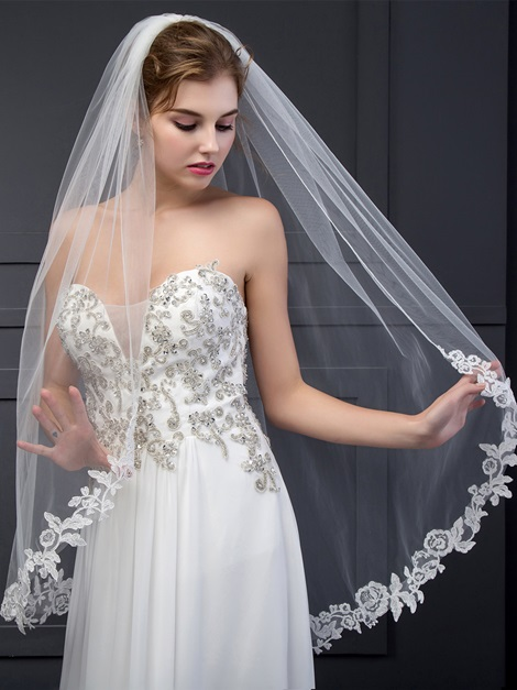 Stunning Wedding Veil With Appliques