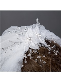 Fancy Tulle Elbow Wedding Veil With Beads