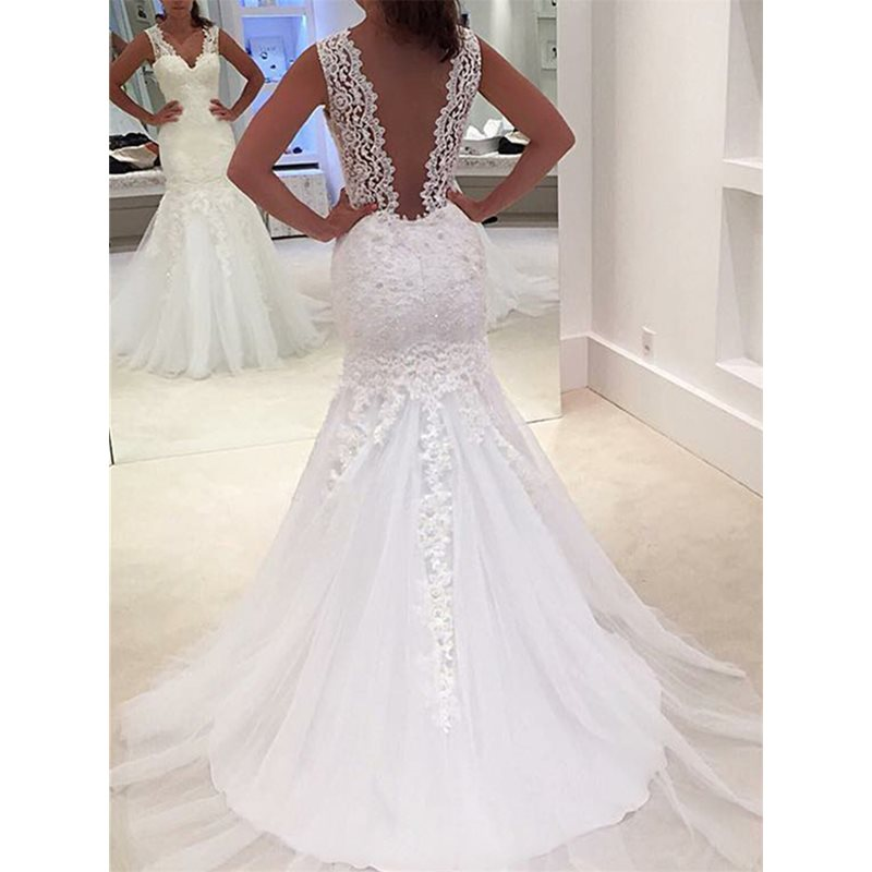 Image of Appliques Low Back Mermaid Wedding Dress