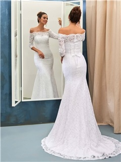 Ladylike Off-the-Shoulder Lace Mermaid Wedding Dress with Sleeves