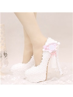 Appliques Pearl Tassel Platform Slip-On Wedding Shoes