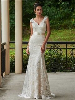 Charming V Neck Lace Sheath Wedding Dress With Sashes 19