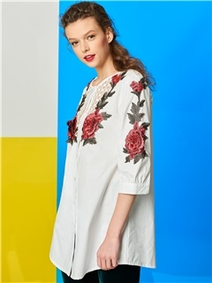 Stylish Flower Decoration Hollow Overcoat