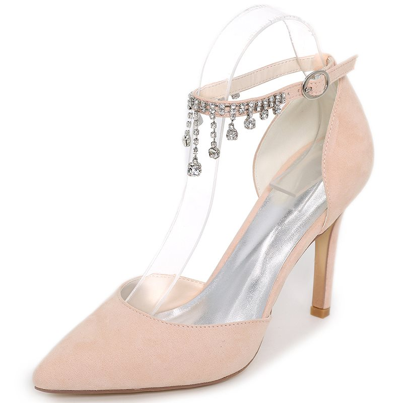 Suede Line-Style Buckle Rhinestone Stiletto Heel Women's Wedding Shoes