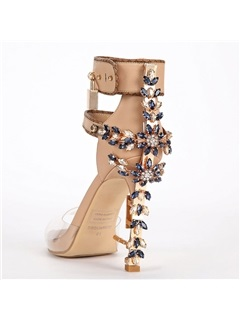 PU Buckle Rhinestone Thread Women's Heel Sandals