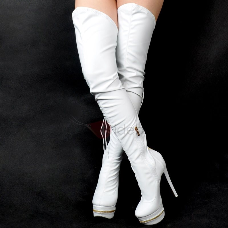 PU Ruched ZipperUltra-High Heel Over-the-Knee Boots