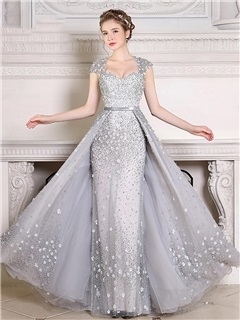 Luxurious Cap Sleeve Appliques Pearls Evening Dress 10