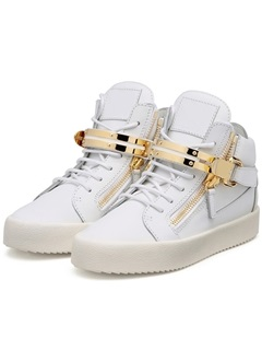 PU Velcro White Round Toe High-Cut Upper Men's Sneakers