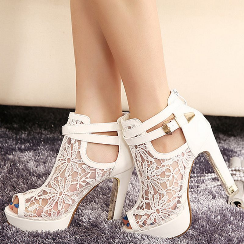 PU Zipper Hollow Lace Platform High Heel Womens Sandals tidebuy