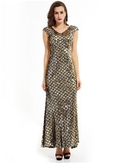 Gorgeous V-Neck Sheath Zipper-Up Sequins Mermaid Evening Dress 1