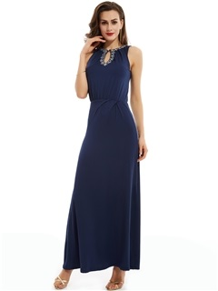 Pretty Jewel Sheath Beading Split-Front Long Evening Dress 1