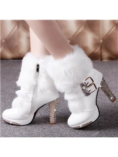 PU Rhinestone Buckle Side Zipper Platform High Heel Women's Boots