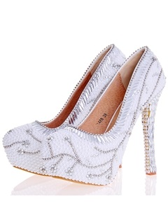 PU Rhinestone Rhinestone Ultra-High Heel Wedding Shoes