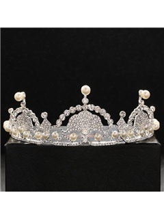 Pearls Embellished Bright Rhinestone Wedding Tiara