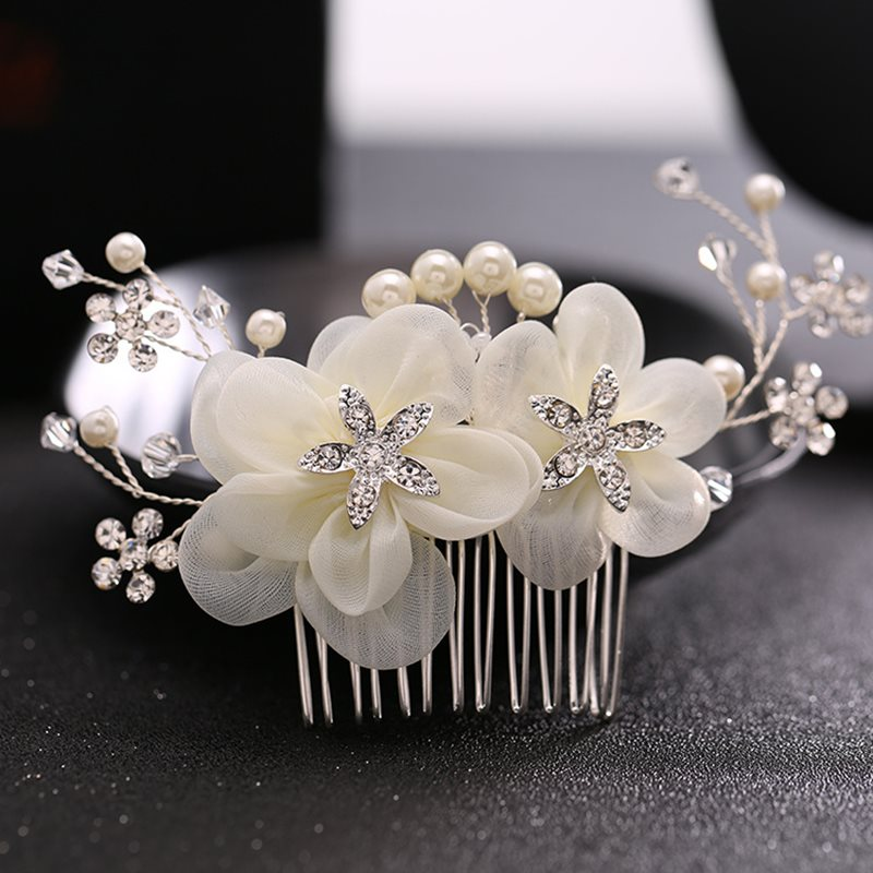 Silk Flower Design with Rhinestone Wedding Hairpin