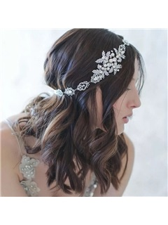 Pearls Decorated Alloy with Rhinestone Wedding Tiara