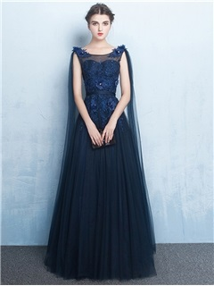 Noble Scoop Trumpet Cap Sleeves Beading Lace Sequins Court Train Evening Dress