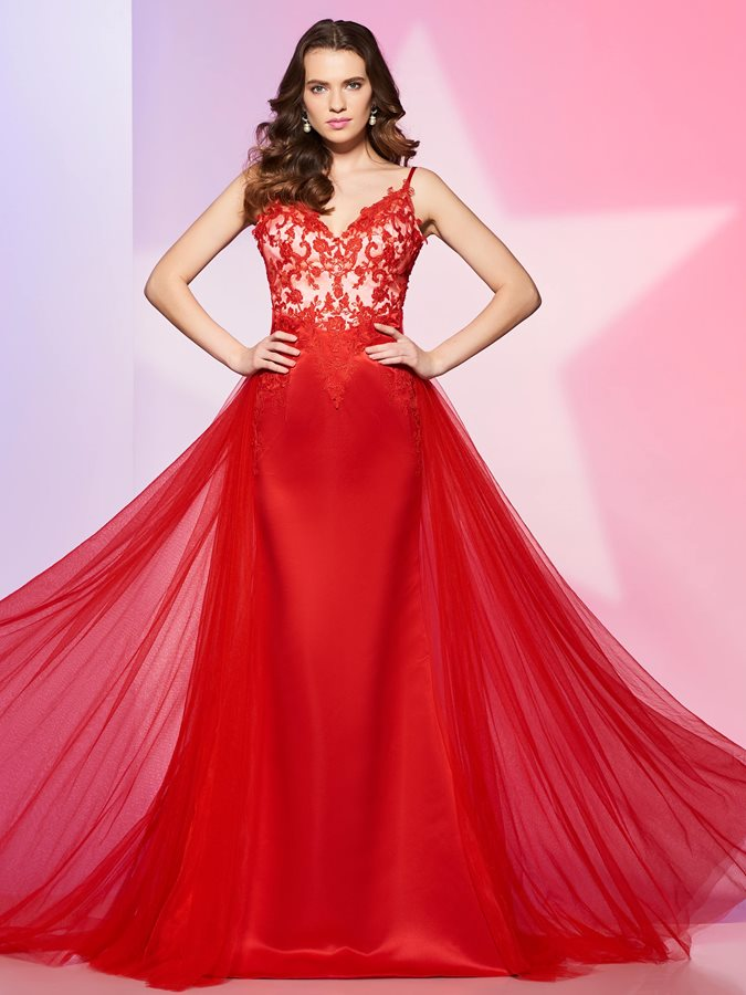 A-Line Spaghetti Appliques Button Prom Dress