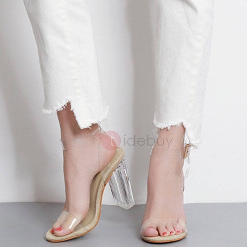 PVC Line-Style Buckle Transparent Heel Women's Sandals