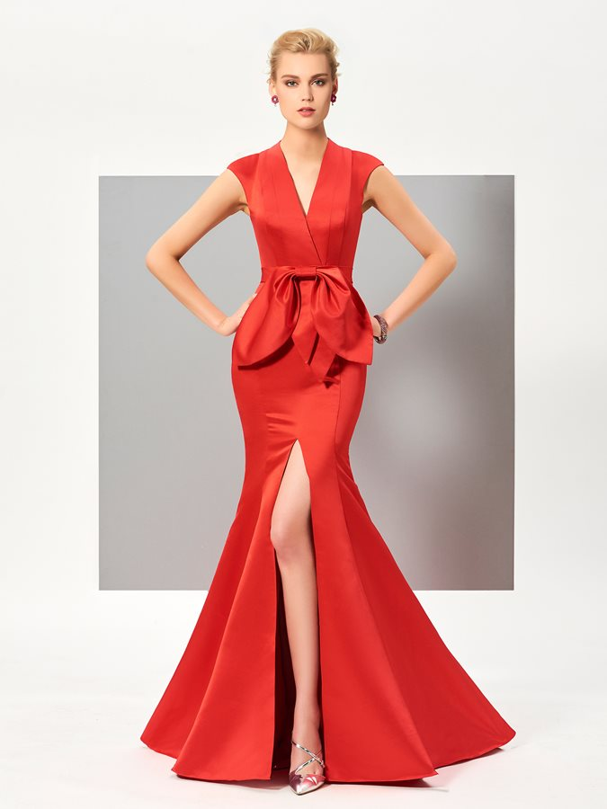 V-Neck Bowknot Draped Split-Front Evening Dress