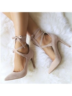 Nubuck Leather Pointed Toe Stiletto Heel Women's Pumps