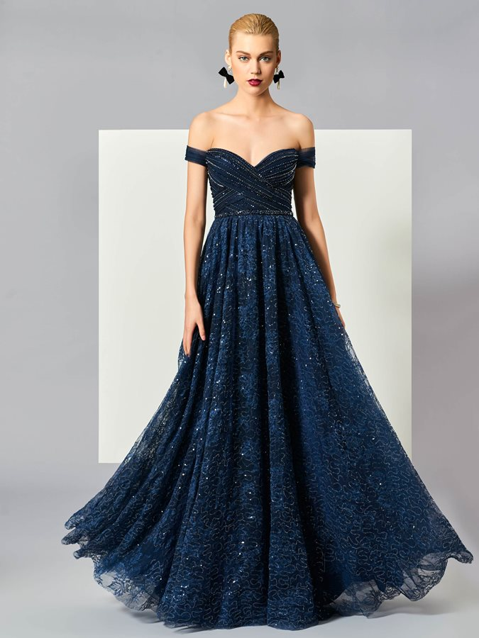 Off-the-Shoulder Beading Sequins Lace Evening Dress