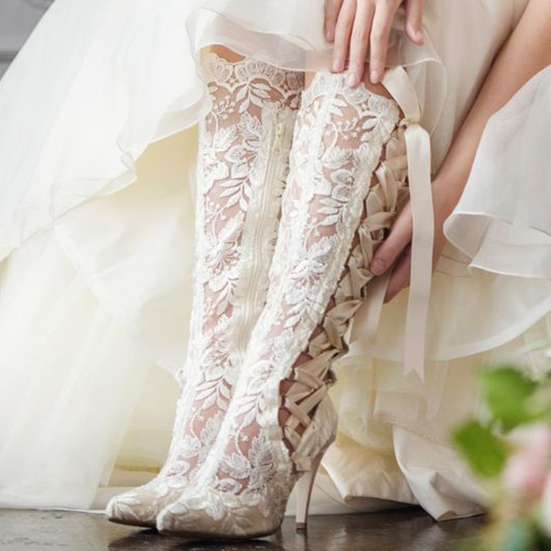 Lace Cross Strap Side Zipper Womens Wedding Boots