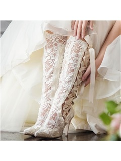 Lace Cross Strap Side Zipper Women's Wedding Boots 50
