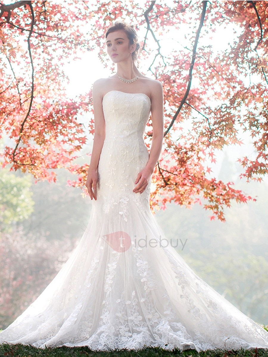 Image of Amazing Strapless Lace Mermaid Wedding Dress