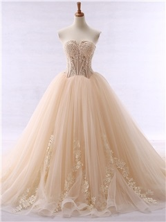 Fancy Sweetheart Appliques Beaded Ball Gown Color Wedding Dress 4