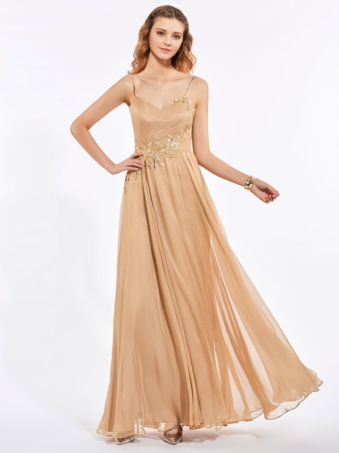 Spaghetti Straps Appliques Pleats Sequins Prom Dress