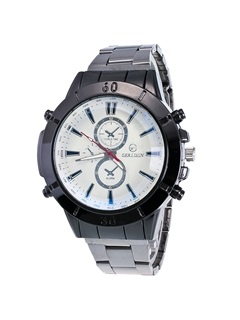 Steel Strip Double Dial Design Men's Watch