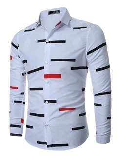 Color Block Stripe Lapel Men's Casual Shirt 17