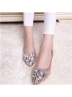 Glitter PU Rhinestone Slip-On Pointed Toe Women's Flats