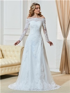Elegant Off The Shoulder A Line Appliques Long Sleeves Wedding Dress 5