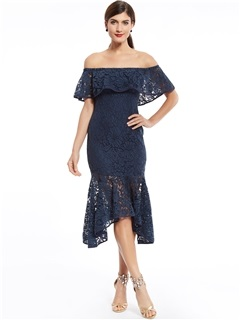 Off-The-Shoulder Lace Mermaid Cocktail Dress 1