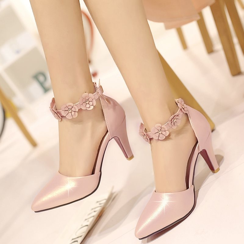 PU Line-Style Buckle Appliques Heel Covering Womens Pumps